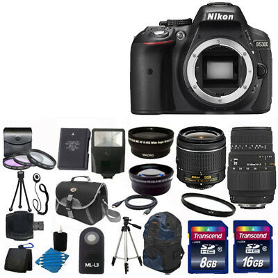 Nikon D5300 Digital SLR Camera + 4 Lens Kit 18-55 VR +Sigma 70-300 +24GB & More