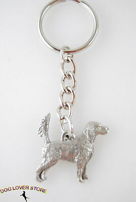English Setter Keychain Pewter Silver Key Chain Ring Tail Up