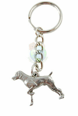 German Shorthair Pointer Keychain Pewter Silver Key Chain Ring