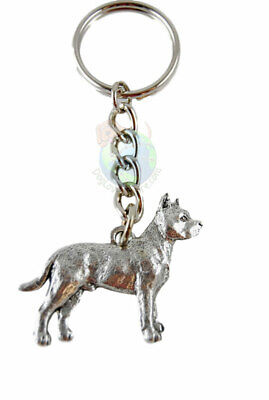 Pitbull Keychain Silver Pewter Key Chain Ring