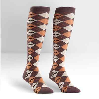 Sock It To Me Women's Knee High Socks - Argyle Mustache