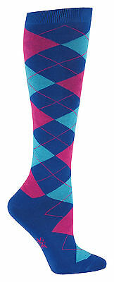 Sock It To Me Women's Knee High Socks - Argyle Blue & Pink