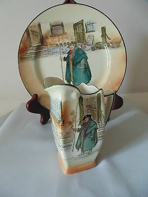 ANTIQUES PLATE AND CREAMER/ ROYAL DOULTON/DICKENS WARE /TONY WELLER/ early 20 th