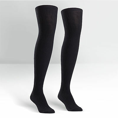 Sock It To Me Women's Over the Knee Socks - Black Cable Striped