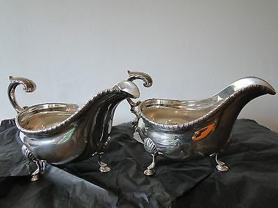 Pair Sauce Boat Sterling Silver Made In Sheffield 1901  Maker Jhb/ Hb