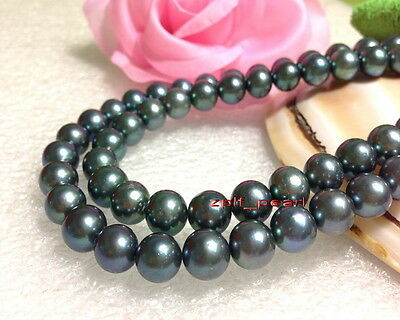 """LONG AAAAA 35""""10-11mm REAL NATURAL southsea black green pearl necklace 14K"""