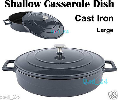 Shallow Casserole Dish Cast Iron Large With Lid charcoal grey / black Non Stick