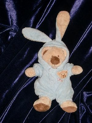 Ty Pluffies Bear Heart Love to Baby Blue 8 Inch Removable Clothes Plush 2005 pj