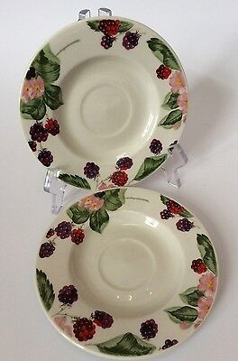 2 Tienshan Raspberry Social Saucers Underplates Replacement Berries Leaves