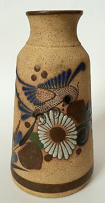 N. Mex Signed Tonala Pottery Vase Mexican Bird Floral Stoneware Brown Blue Green
