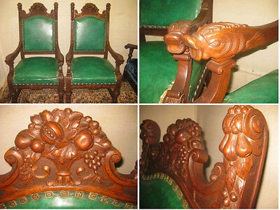 Pair of Antique Carved Oak Fish Throne Side Parlor Arm Chairs Ornate Carving