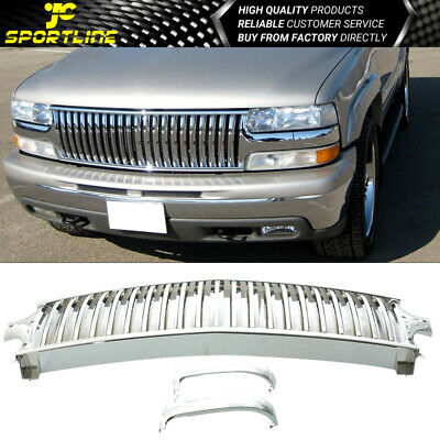 Fit 99-02 Chevy Silverado 00-06 Tahoe Suburan Vertical Chrome Front Grill Grille