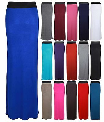 Womens Plain Long Straight Gypsy Stretch Full Length Maxi Jersey Ladies Skirt