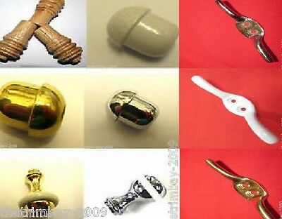 Chrome Brass Wooden Plastic Cord Bathroom Light Roman Blind Weight Ends Cleats