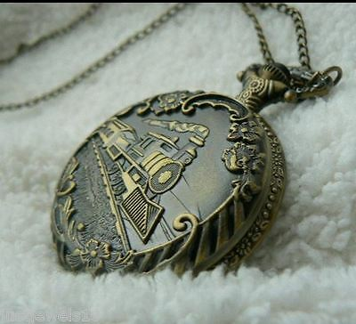 Unusual gift for her him Pocket Watch Necklace Classic Vintage Train Men women *