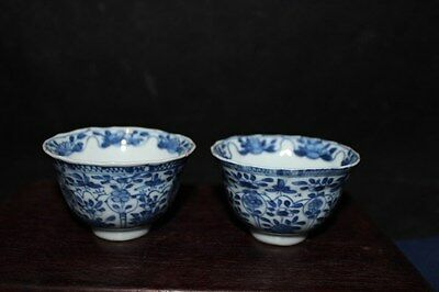 Pair Vintage Chinese hand painted porcelain tea cup