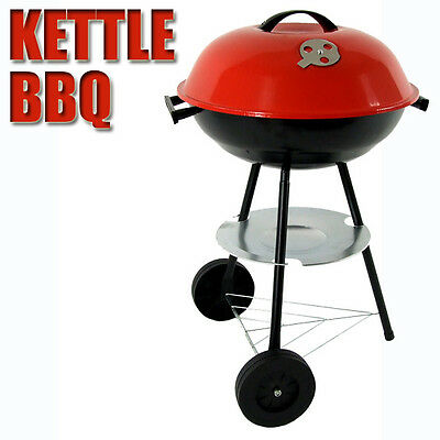 New Portable Red Kettle Trolley BBQ Grill Charcoal Barbecue Wood Barbeque Picnic