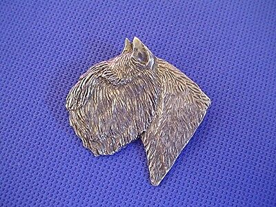 Bouvier Head Study Pin #43B Pewter Herding Dog Jewelry by Cindy A. Conter