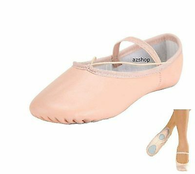 Leather Ballet Dance Shoes, Split Sole Leather with elastics. All Sizes
