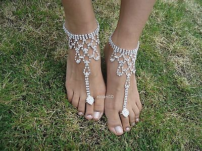 Shining Crystal barefoot sandals ~ anklet foot Beach Wedding