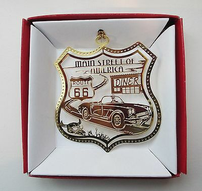 ROUTE 66 Main Street of America Brass ORNAMENT Diner Sign Old Convertible Car