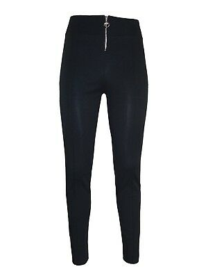 Ladies Girls Women skinny stretch trousers with zip Navy black