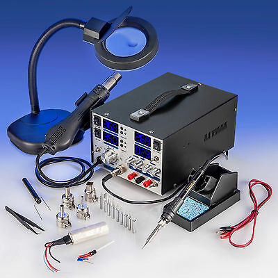 X-Tronic Model #8080 ESD Safe Soldering Iron Station, Hot Air & DC Power Supply