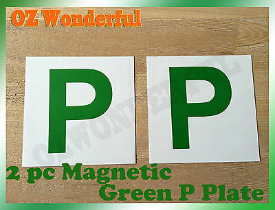 2PCs White BackGround Magnetic Green P Plate sell Red P & L Plate Also