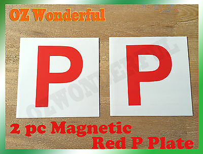 2PCs White BackGround Magnetic Red P Plate sell Green P & L Plate Also