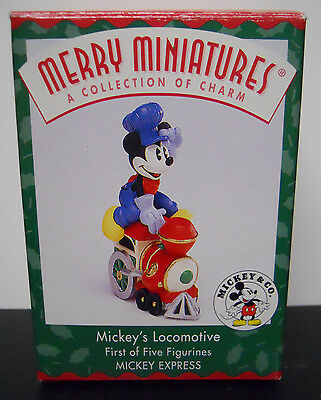 1998 Hallmark Merry Miniature Figurine Mickey's Locomotive-QRP8496