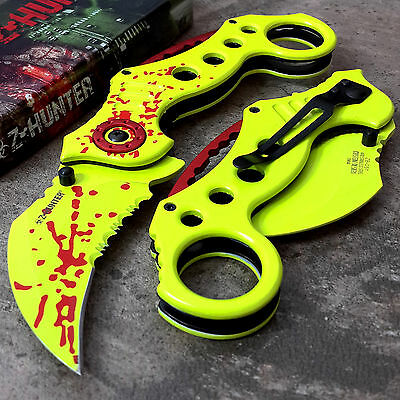 GREEN ZOMBIE KARAMBIT ASSISTED POCKET KNIFE Spring Tactical Open Folding Blade