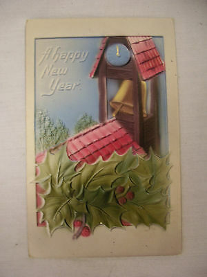 Vintage Embossed New Year Postcard Tile Roof W/clock & Church Bell Unmailed