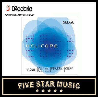 D'Addario H310 Helicore Violin String Set H-310 Medium Core Steel NEW DADDARIO