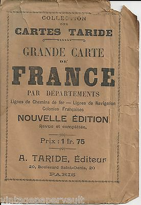 "Rare 1917 Map Of France By Alphonse Taride In Original Dust Jacket 34""x40"""