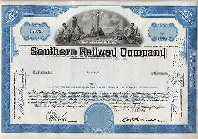 Southern Railway Company Stock Certificate Railroad Blue