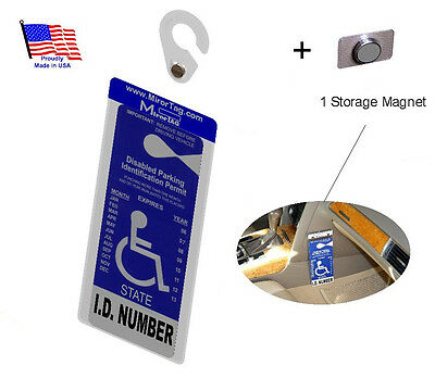 Handicap Tag Holder & Protector+Storage Magnet. Sturdy Hook - ON & OFF in a Snap
