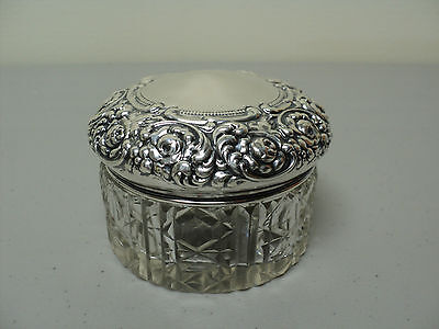 Cut Crystal Dresser Box  / Toiletries Jar, Unger Bros. Sterling Silver Lid