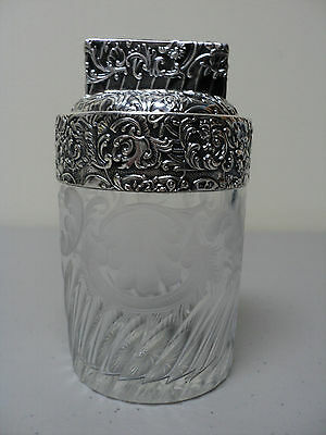 19th C. CRYSTAL DRESSER JAR w/ ETCHED DESIGN & CHASED STERLING SILVER DECORATION