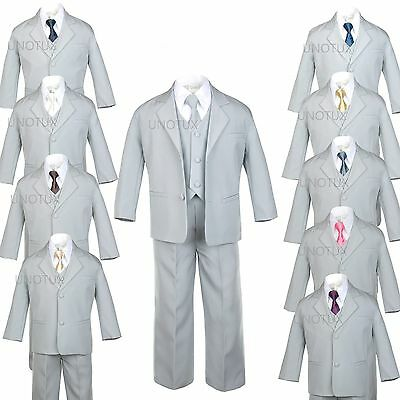 6pc Baby TODDLER KID TEEN WEDDING PROM PARTY FORMAL TUXEDO BOY SUIT GRAY sz S-20