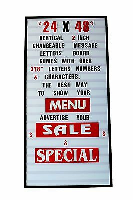 24x48 New Vertical Changeable Letter Message Sign Letters Boa