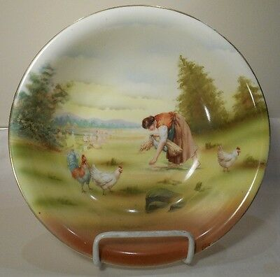 """ROYAL BAYREUTH Bavaria RB435 Round Bowl - WOMEN WITH CHICKENS - Blue Mark 9 1/2"""""""
