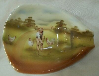 ROYAL BAYREUTH Bavaria RB457 Ashtray - MAN WITH CHICKENS - Blue Mark  5 1/8""