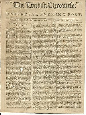 The London Chronicle or Universal Evening Post- Feb. 1761- 8 Pages