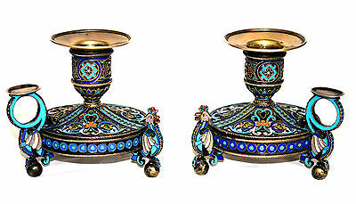 Moscow OVCHINNIKOV Antique Russian Silver Gilt Cloisonne Enamel Candlestick Pair