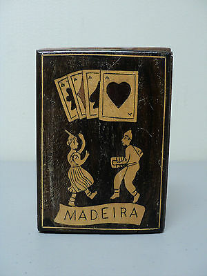 19th C. ANTIQUE SORRENTO WARE MADEIRA SOUVENIR INLAID WOOD PLAYING CARD BOX