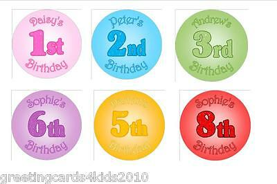 Personalised ANY NAME OR AGE Birthday Party Stickers Labels