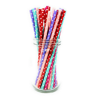 25x POLKA DOT Paper Straws Vintage Party Birthday Wedding Tableware Pastel Retro