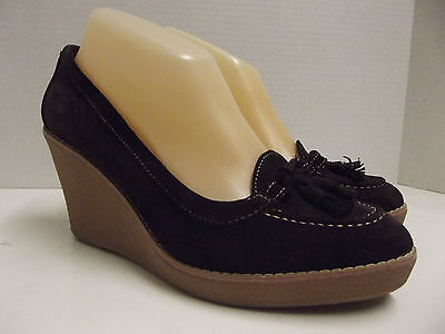 cfc3adfa7938 ANN TAYLOR Loft Brown Leather Loafer Style Wedge Heels Womens SHOES Sz 8 1 2