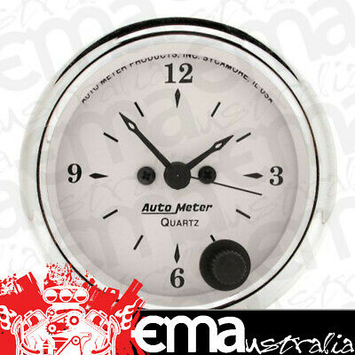 "Autometer Old Tyme White 2-1/16"" Electric Clock Quartz Movement Au1686"