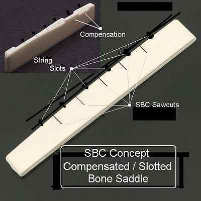 AxeMasters SBC Concept COMPENSATED / SLOTTED BONE SADDLE for Acoustic Guitar